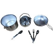 Набор посудыПосуда туристическая<br>Очень легкий, компактный и практичный набор.<br> Сковородка одновременно является крышкой для кастрюли.<br> Набор идеально подойдет для компании из двух человек (в наборе два комплекта приборов), а большая кастрюля позволит приготовить обед и для большей компании.<br> <br> В комплекте:&amp;nbsp;<br> <br> - кастрюля (3 л)<br> <br> - сковородка (17 см )<br> <br> - Чайник (1 л)<br> <br> - Приборы (ложка, вилка, нож) - 2 шт.<br> <br> - Прихватка для посуды&amp;nbsp;<br> <br> <br> Материал: алюминий<br> <br> Количество предметов: 10<br> <br> Вес: 1000 г<br>