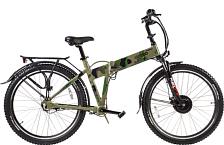 ВелогибридСкладные электровелосипеды<br>Большие колеса на велосипеде – всегда преимущество, если речь идет о поездках на большие расстояния и покорении оффроудовых троп. Внедорожные и антипрокольные покрышки Kenda Nevegal на 28-дюймовых ободах дают хорошее сцепление с любым дорожным покрытием – как в сухую, так и в мокрую погоду.<br> <br> <br> Особенности:<br> <br> Стоит обратить внимание на складную раму. Она выполнена из алюминиевого сплава 6061 и дополнительно усилена, чтобы выдерживать вес встроенного аккумулятора от Samsung. В местах складывания рамы установлены сплошные и герметичные резиновые прокладки, что в совокупности с усиленными швами и петлями добавляет всей конструкции еще больше надежности. Лакокрасочное покрытие (модный камуфляж на этой модели) устойчиво к перепадам температур и дорожным реагентам и не выцветает под прямыми солнечными лучами. Вся конструкция способна выдерживать максимальную нагрузку в 110 кг, тогда как собственный вес этого велогибрида составляет 26 кг.<br> <br> Технические характеристики:<br> <br> Максимальная скорость: не менее 25 км/ч<br> Пробег: 45-60 км<br> Тормоза передние: дисковые механические тормоза SHIMANO<br> Тормоза задние: Роллерный тормоз Shimano<br> Батарея: Li-ion Samsung, 36V<br> Двигатель: Bafang<br> Контроллер: 36V 350W<br> Управление: Совместное использование ручки газа и системы Pass Control<br> Размер рамы: 22<br> Тип рамы: складная<br> Вес: от 25 до 30<br> Нагрузка: 110<br> Размер колеса: 27,5<br> Привод: передний<br> Мощность двигателя: 350W<br> Емкость батареи: 10Ач<br> Подвеска: передняя с амортизацией<br> Тип передачи: кардан<br> <br> <br>