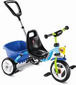 Велосипед трехколесныйДо 6 лет (колеса 12-18)<br>Детский трехколесный велосипед для детей 2–4 лет<br> <br> Особенности:<br> <br> - На руле закреплена мягкая подушечка, которая защитит малыша от ушибов<br> - Чтобы остановить велосипед, применяется рычаг ручного тормоза<br> - премиальные безвоздушные литые шины (мягкий ПВХ) с плавным и бесшумным ходом. Можно установить свободный ход вращения рулевого колеса, заблокировать руль или ограничить угол поворота руля.&amp;nbsp;<br> <br> Характеристики:<br> <br> - На рост от 90 до 104 см<br> - Вес &amp;nbsp;5,5 кг (в коробке 6,3 кг)<br> - литые шины (ПВХ)<br> - Безопасные ручки на руле<br> - Родительская ручка съемная, регулируется по высоте (без управления рулем)<br> - Анатомическое сиденье с высокой спикой и регулировкой роста на 6 см<br> - Откидывающийся кузов с фиксатором<br> - Блокировка педалей переднего колеса<br> - Ручной тормоз<br> - Низкий центр тяжести как гарантия против переворачивания ребенка на велосипеде<br> - Максимальная нагрузка 25 кг<br> - Размер 75 х 48 х 24 см<br> - Ключи для сборки в комплект не входит