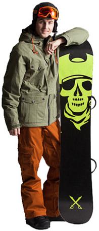Купить Куртка сноубордическая RIPZONE 2013-14 X5 ESCAPE JACKET - SOLID COLOR COTTON/NYLON Olive, Одежда сноубордическая, 1041647