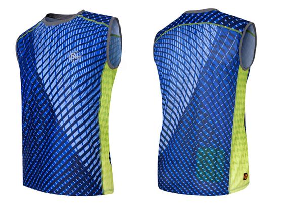 Купить Майка беговая BUFF SLEEVLESS T-SHIRT FINLAY (DEEPBLUE) синий/салатовый Одежда для бега и фитнеса 759205