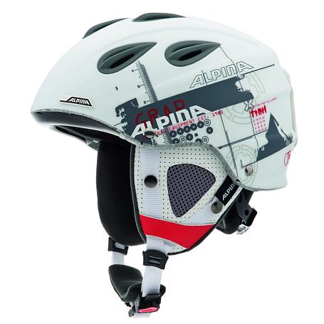 Купить Зимний Шлем Alpina ALL MOUNTAIN GRAP white-grey-red matt, Шлемы для горных лыж/сноубордов, 1131114