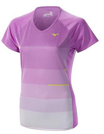 Купить Футболка беговая Mizuno 2014 DryLite Sunset Tee фиол Одежда для бега и фитнеса 1139489
