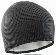 Шапка SALOMON 2020-21 Logo beanie Black/Darkcloud