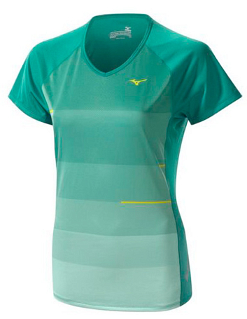 Купить Футболка беговая Mizuno 2014 DryLite Sunset Tee зел, Одежда для бега и фитнеса, 1139485
