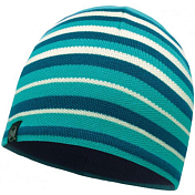 Шапка Buff KNITTED & POLAR HAT LAKI STRIPES LAKE BLUE