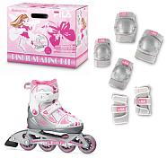 Комплект, 2 элемета защиты + роликиРолики детские<br>Детский комплект: ролики,&amp;nbsp;&amp;nbsp;защита &amp;#40;наколенники, налокотники, защита запястья&amp;#41;. Мягкий комфортный ботинок. Фиксация ноги: бакля, пяточный ремень, быстрая шнуровка. Удобная система изменения размера. Композитная рама. Пластиковый каф. <br><br>Конструкция и материал верха: раздвижной ботинок<br>Рама: экструдированный алюминий<br>Колеса Fila&amp;nbsp;&amp;nbsp;72mm/78A - 74mm/78A - 76mm/78A<br>Внутренний материал ботинка: дышащий материал<br>Подшипники ABEC 3. <br><br><br>Пол: Женский<br>Возраст: Детский