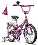 """ВелосипедДо 6 лет (колеса 12-18)<br>Велосипед с колёсами 12"""" для детей от 1,5 до 3 лет. Стальная рама, жёсткая стальная вилка. Съёмные боковые колёсики помогут в обучении катанию. Высокий руль, который регулируется как по высоте, так и по углу наклона, и эргономичное сиденье обеспечивают комфортную посадку. Задний ножной тормоз. Полная защита цепи, мягкие травмозащитные накладки на руле, клаксон — всё это сделано для безопасного катания Вашего ребёнка. В комплект велосипеда также входят: стальные крылья, багажник, флаг, рюкзак. Комплектуется поддерживающей ручкой."""