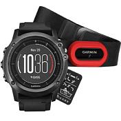 Умные Часы Garmin 2016-17 Fenix 3 Sapphire HR с Черным Силиконовым Браслетом Hrm-run (010-01338-74) Серый