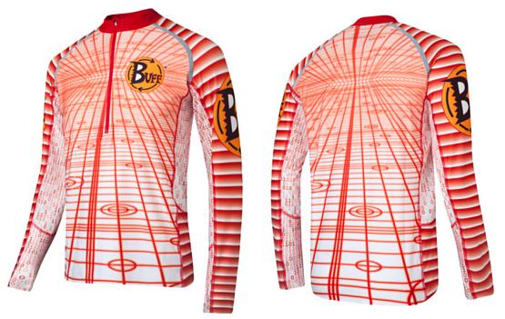 Купить Футболка с длинным рукавом беговая BUFF T-SHIRT L.SL. POWER (WHITE) белый/оранжевый Одежда для бега и фитнеса 759391