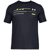 Футболка беговая Under Armour 2019 Run Graphic Tee Black/High-vis yellow/White