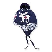 ШапкаГоловные уборы<br>Теплая шапочка с декоративным помпоном, удлиненные ушки на завязках. Флисовая повязка с внутренней стороны для утепления, мембрана Windstopper для защиты от ветра. <br>Состав пряжи: 50% мериносовая шерсть, 50% акрил<br>Цвет: темно-синий