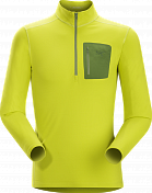 Футболка с дл. рукавом Arcteryx 2015-16 Rho LT Zip Neck Mens Genepi Genepi/Gre / Желтый