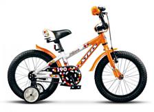 ВелосипедДо 6 лет (колеса 12-18)<br>Велосипед, предназначенный для детей в возрасте от 3.5 до 6 лет. Алюминиевая рама, жесткая вилка, короткие стальные крылья, высокий руль с накладками, вспомогательные боковые колеса, звонок. Ручной передний тормоз, а также ножной педальный тормоз, отличающийся наибольшей простотой в использовании и надежностью. <br><br>&amp;nbsp;&amp;nbsp;Диаметр колес 16 дюймов, вес 11 кг.