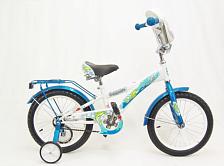 """ВелосипедДо 6 лет (колеса 12-18)<br>Велосипед с колёсами 16"""" для детей от 3,5 до 6 лет. Стальная рама, жёсткая стальная вилка. Съёмные боковые колёсики помогут в обучении катанию. Высокий руль, который регулируется как по высоте, так и по углу наклона, и эргономичное сиденье обеспечивают комфортную посадку. Задний ножной тормоз. Полная защита цепи, мягкие травмозащитные накладки на руле, клаксон — всё это сделано для безопасного катания Вашего ребёнка. В комплект велосипеда также входят: стальные крылья, багажник, флаг."""