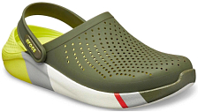 Сандалии Crocs LiteRide Colorblock Clog Army Green/White