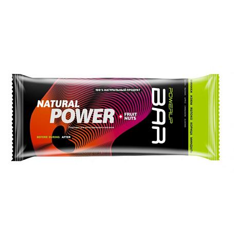 Купить Батончик POWERUP Энергетический батончик FRUIT+NUTS 100г. финики, изюм, яблоко, корица, миндаль Спортивное питание 1340363