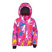 Куртка горнолыжнаяОдежда горнолыжная<br>Девчачий пуховик в очень милой расцветке. <br><br>Капюшон, юбка от снега, внутренние манжеты с отверстием для большого пальца, рукава удлиняются на 5 см. <br><br>Мембрана: M-TEX <br>Воздухопроницаемость мембраны: 10 000 g/m2 /24 h <br>Влагонепроницаемость мембраны: 10 000 mm<br>Утеплитель: M-LOFT<br>Состав: 100% полиэстер.<br><br>Пол: Унисекс<br>Возраст: Детский<br>Вид: куртка