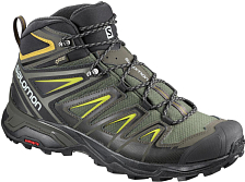 Ботинки для хайкинга (высокие) SALOMON 2019-20 X Ultra 3 MID GTX Castor Gray/Black/Green Sulphur