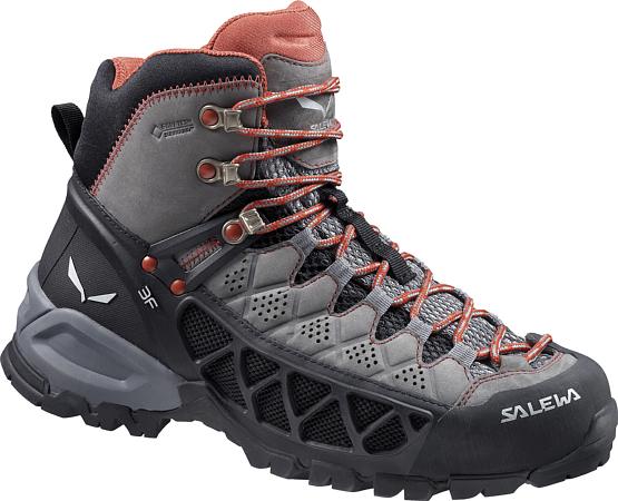 Купить Ботинки для треккинга (высокие) Salewa Hike Approach Womens WS ALP FLOW MID GTX Charcoal/Indio /, Треккинговые ботинки, 1158119