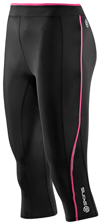 Тайтсы 3/4 беговые SKINS 2015 A200 Womens Capri Tights Black/Pink