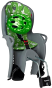 Детское велокресло Hamax 2021 Kiss Safety Package & Helmet Medium Grey/Green