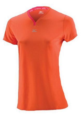 Купить Футболка беговая Mizuno 2013 DryLite V Neck Tee Coral/Rouge Red, Одежда для бега и фитнеса, 901931