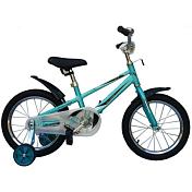 ВелосипедДо 6 лет (колеса 12-18)<br>Легкий алюминиевый детский велосипед на возраст от 3 до 6 лет. Мягкие накладки на руле и выносе предохраняют от ушибов. Руль и седло регулируются по высоте. В комплектацию велосипеда входят крылья и защита цепи, предохраняющая одежду от попадания между звездой и цепью, а также дополнительные съемные боковые колеса, обеспечивающие безопасное обучение ребенка езде на велосипеде.<br> <br> Рама: Алюминий<br> Вилка: жесткая hi-ten steel<br> Размер колёс: 16<br> Количество скоростей: 1<br> Тип тормозов: Coastbrake (ножной)<br> Цепь: KMC<br> Система: 1 звездочка<br> Каретка: неинтегрированная<br> Ободья: алюминиевый сплав<br> Передняя втулка: без эксцентрика<br> Задняя втулка: без эксцентрика<br> Покрышки: Innova, 16x2.125<br> Кассета: 1 звездочка 14T<br> Передний переключатель: нет<br> Задний переключатель: нет<br> Манетки: нет<br> Вес велосипеда: 9.5 кг<br> <br>Легкий алюминиевый детский велосипед на возраст от 3 до 6 лет. Мягкие накладки на руле и выносе предохраняют от ушибов. Руль и седло регулируются по высоте. В комплектацию велосипеда входят  крылья и защита цепи, предохраняющая одежду от попадания между  звездой и цепью, а также дополнительные съемные боковые колеса, обеспечивающие безопасное обучение ребенка езде на велосипеде.<br><br>Пол: Унисекс<br>Возраст: Детский